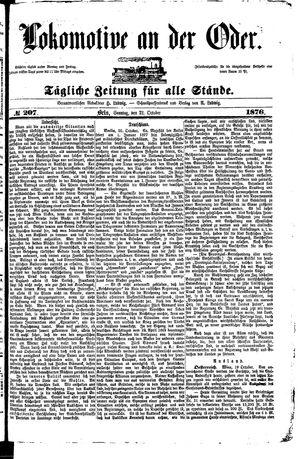 Lokomotive an der Oder vom 22.10.1876
