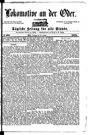 Lokomotive an der Oder vom 24.10.1876