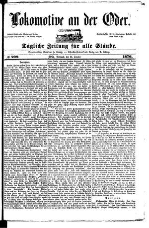 Lokomotive an der Oder vom 25.10.1876
