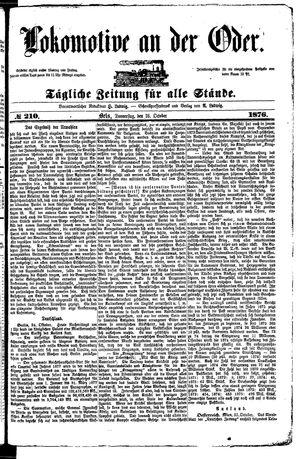 Lokomotive an der Oder vom 26.10.1876