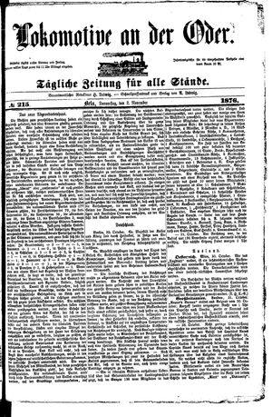 Lokomotive an der Oder vom 02.11.1876