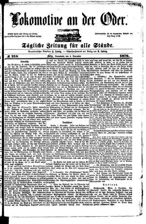 Lokomotive an der Oder vom 04.11.1876