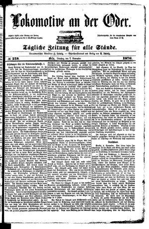 Lokomotive an der Oder vom 07.11.1876