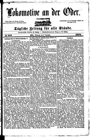 Lokomotive an der Oder vom 08.11.1876