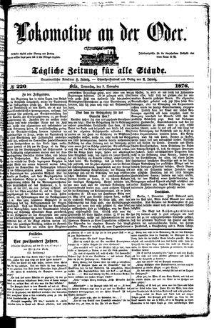 Lokomotive an der Oder vom 09.11.1876