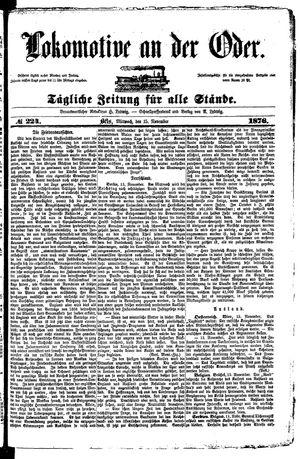 Lokomotive an der Oder vom 15.11.1876