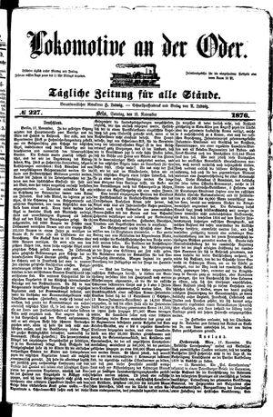 Lokomotive an der Oder vom 19.11.1876