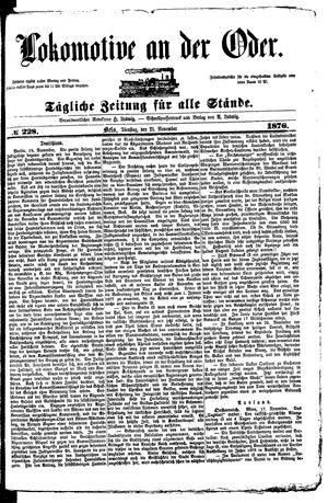 Lokomotive an der Oder vom 21.11.1876