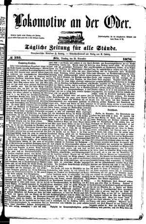Lokomotive an der Oder vom 28.11.1876