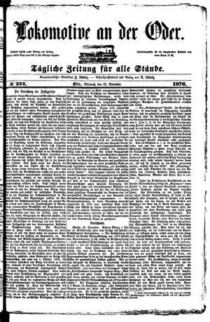 Lokomotive an der Oder vom 29.11.1876