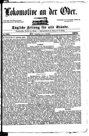 Lokomotive an der Oder vom 09.12.1876