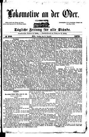Lokomotive an der Oder vom 19.12.1876