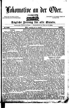 Lokomotive an der Oder vom 21.12.1876