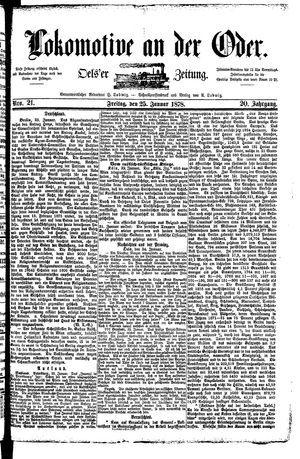 Lokomotive an der Oder vom 25.01.1878