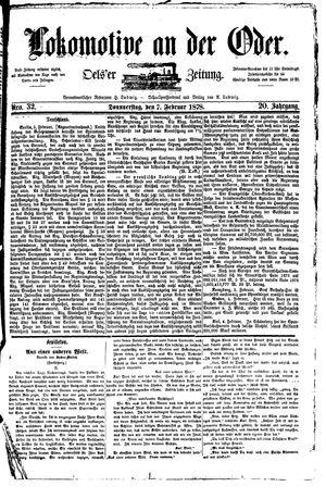 Lokomotive an der Oder vom 07.02.1878