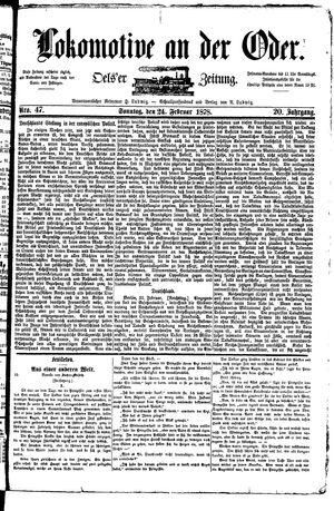 Lokomotive an der Oder vom 24.02.1878