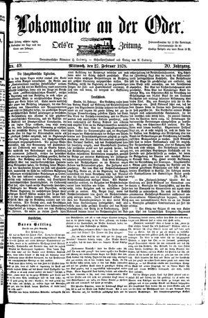 Lokomotive an der Oder vom 27.02.1878