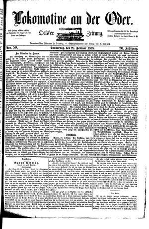 Lokomotive an der Oder vom 28.02.1878