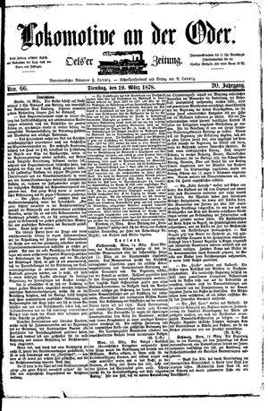 Lokomotive an der Oder vom 19.03.1878