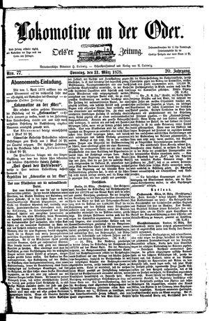 Lokomotive an der Oder vom 31.03.1878
