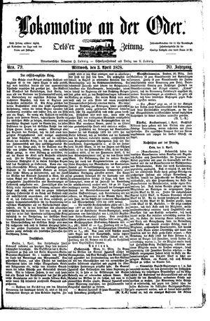 Lokomotive an der Oder vom 03.04.1878