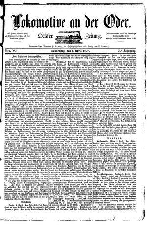 Lokomotive an der Oder vom 04.04.1878