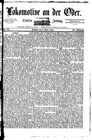 Lokomotive an der Oder vom 09.04.1878