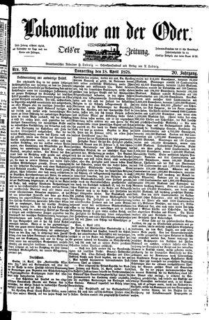 Lokomotive an der Oder vom 18.04.1878