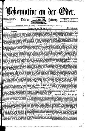 Lokomotive an der Oder vom 25.04.1878