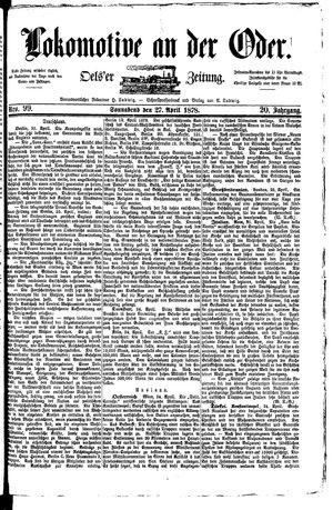 Lokomotive an der Oder vom 27.04.1878
