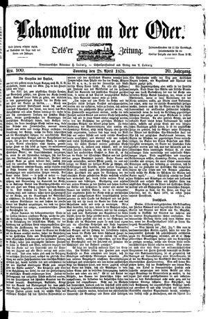 Lokomotive an der Oder vom 28.04.1878