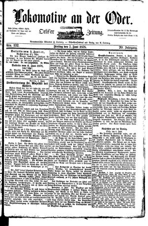 Lokomotive an der Oder vom 07.06.1878