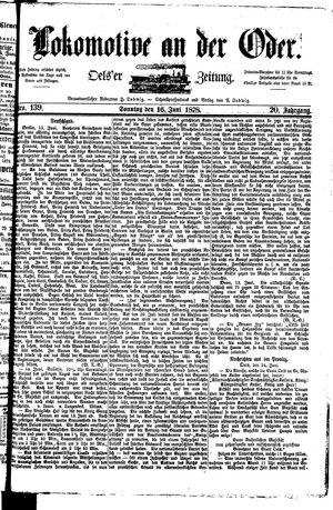 Lokomotive an der Oder vom 16.06.1878
