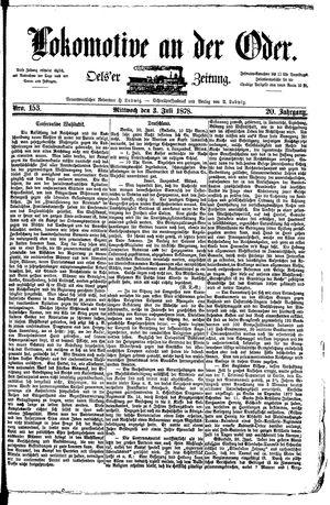 Lokomotive an der Oder vom 03.07.1878