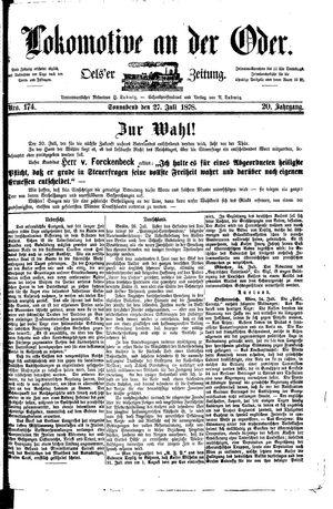 Lokomotive an der Oder vom 27.07.1878