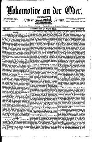 Lokomotive an der Oder vom 17.08.1878