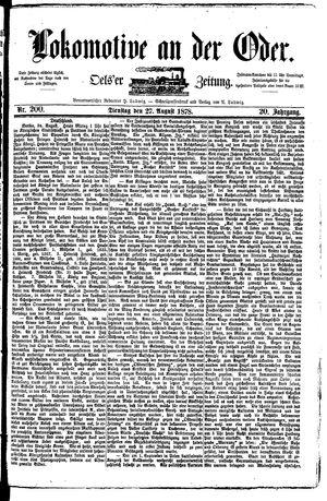 Lokomotive an der Oder vom 27.08.1878