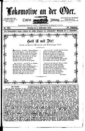 Lokomotive an der Oder vom 01.09.1878