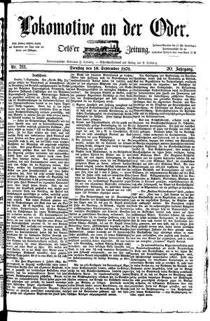 Lokomotive an der Oder vom 10.09.1878