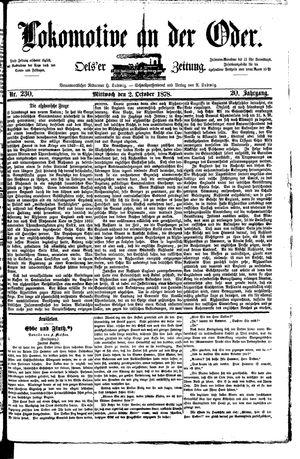 Lokomotive an der Oder vom 02.10.1878