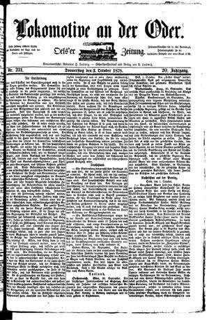 Lokomotive an der Oder vom 03.10.1878