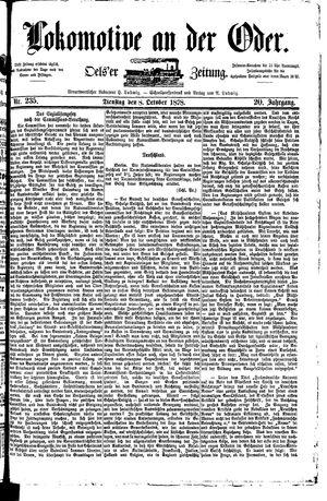 Lokomotive an der Oder vom 08.10.1878