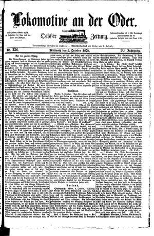 Lokomotive an der Oder vom 09.10.1878