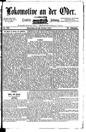 Lokomotive an der Oder vom 10.10.1878