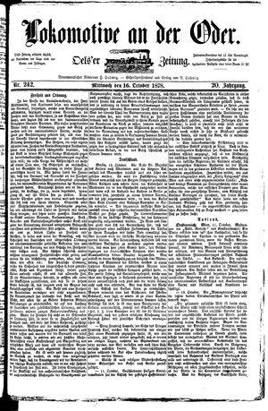 Lokomotive an der Oder vom 16.10.1878