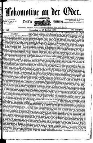Lokomotive an der Oder vom 17.10.1878