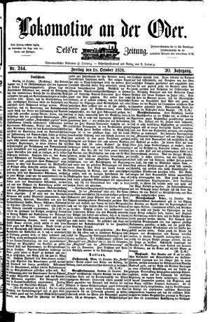 Lokomotive an der Oder vom 18.10.1878