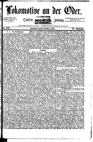 Lokomotive an der Oder vom 20.10.1878