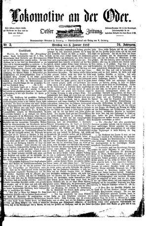 Lokomotive an der Oder vom 03.01.1882