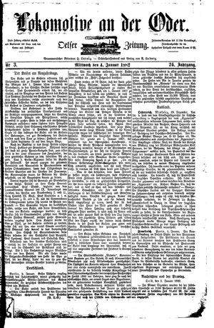 Lokomotive an der Oder vom 04.01.1882